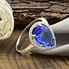 Серебряное кольцо Катюша, вставка светло синий и белые фианиты, вес 2.55 г, размер 19.5, фото 2