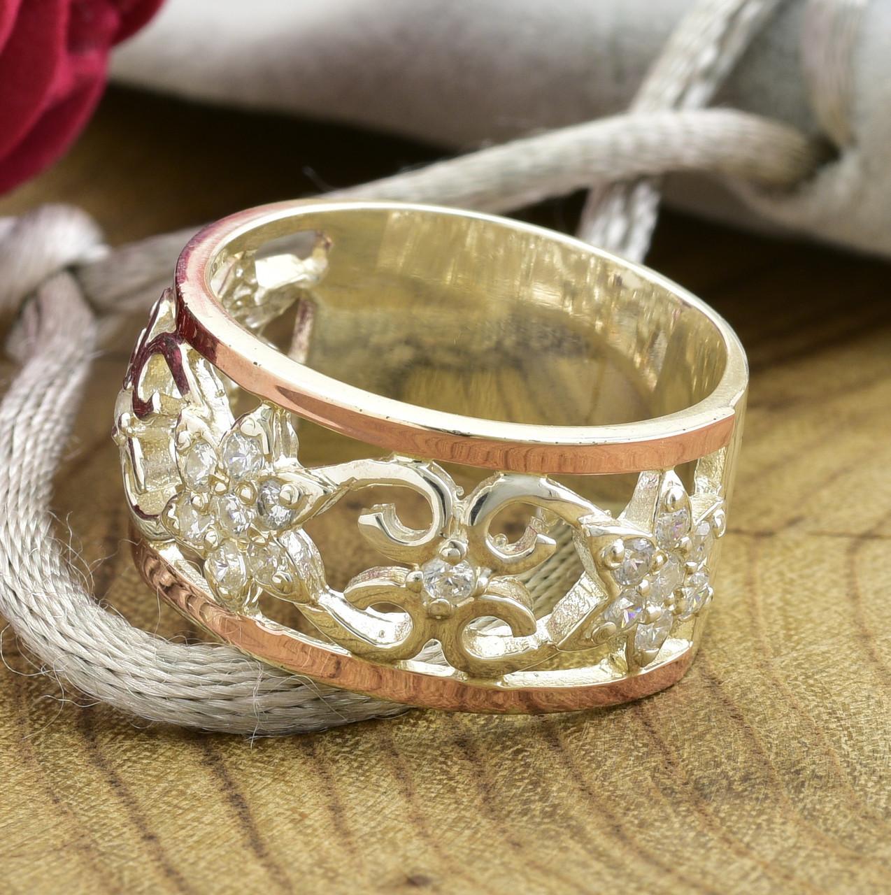 Серебряное кольцо с золотом Велюр вставка белые фианиты вес 6.46 г размер 19
