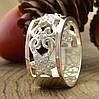 Серебряное кольцо с золотом Велюр вставка белые фианиты вес 6.46 г размер 19, фото 2