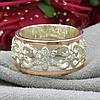 Серебряное кольцо с золотом Велюр вставка белые фианиты вес 6.46 г размер 19, фото 4