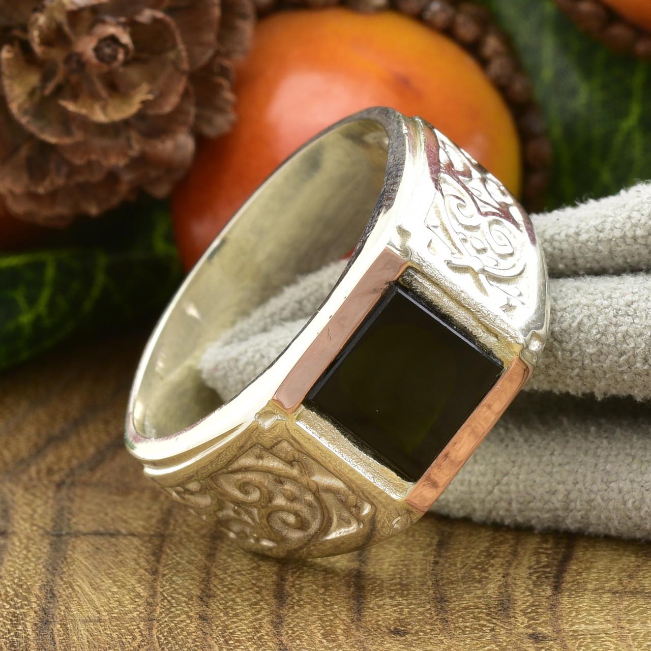 Серебряная печатка с золотой пластиной Гермес вес 7.74 г размер 22