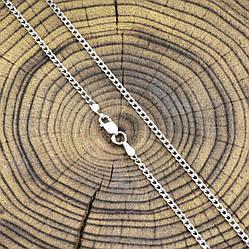 Серебряная цепочка родированная Панцирная ширина 2 мм  длина 45