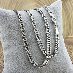 Серебряная цепочка родированная Панцирная двойная ширина 3.5 мм  длина 55