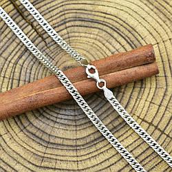 Серебряная цепочка родированная Панцирная двойная ширина 3.5 мм  длина 60