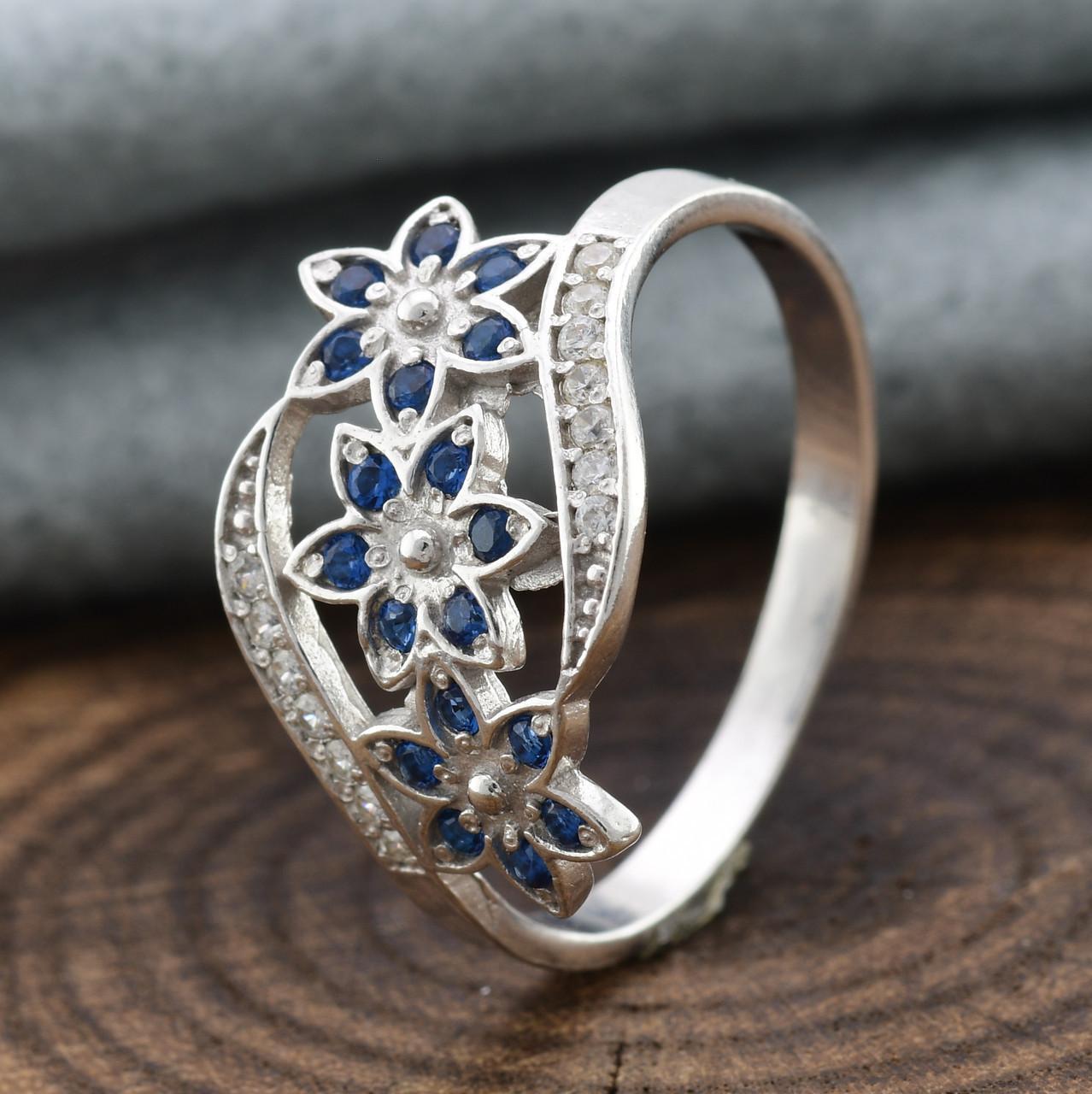 Серебряное кольцо Цветочный букет вставка синие фианиты вес 2.35 г размер 19.5