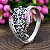 Серебряное кольцо Цветочный букет вставка синие фианиты вес 2.35 г размер 19.5, фото 3