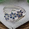 Серебряное кольцо Цветочный букет вставка синие фианиты вес 2.35 г размер 19.5, фото 6