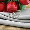 Серебряное кольцо Влюблённые сердца вставка белые фианиты вес 1.4 г размер 18.5, фото 4