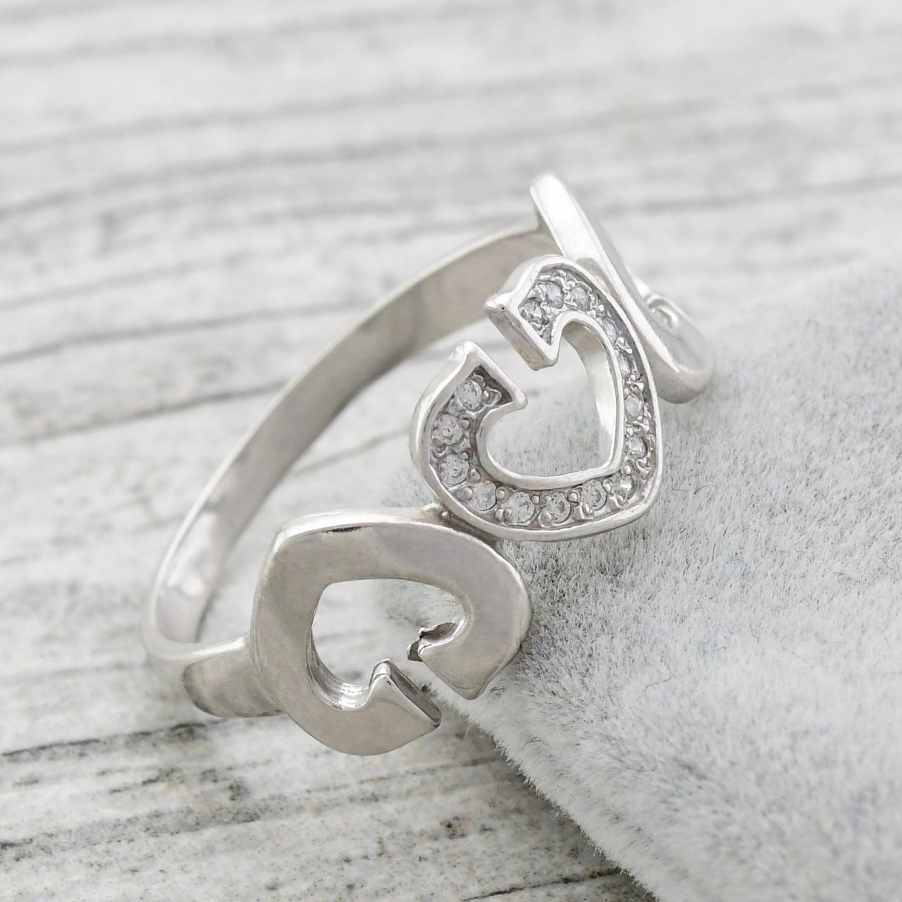 Серебряное кольцо Симфония любви вставка белые фианиты вес 2.58 г размер 17.5