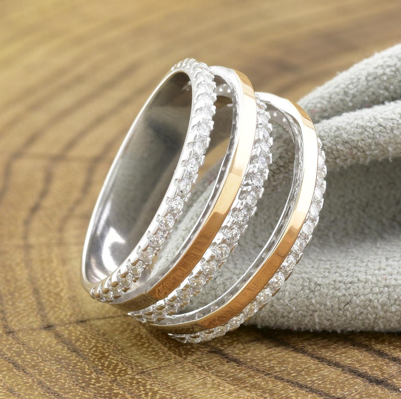 Серебряное кольцо с золотом 1183БС вставка белые фианиты вес 4.4 г размер 17.5