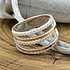 Серебряное кольцо с золотом 1183БС вставка белые фианиты вес 4.4 г размер 17.5, фото 2