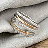 Серебряное кольцо с золотом 1183БС вставка белые фианиты вес 4.4 г размер 17.5, фото 3