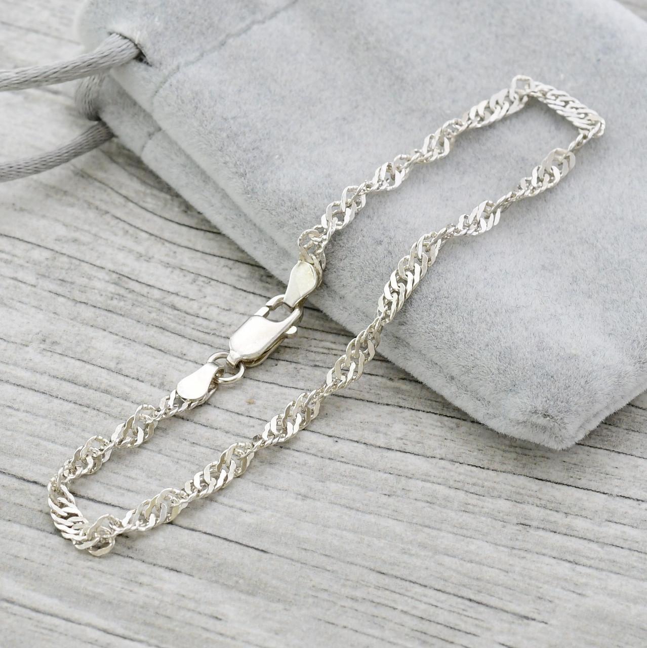Серебряный браслет родированный Сингапур длина 19 см ширина 3 мм вес 2.92 г