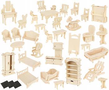 Набір саморобних меблів DIY для лялькового будинку 34 шт