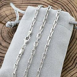 Серебряная цепочка родированная Якорная ширина 4 мм  длина 55