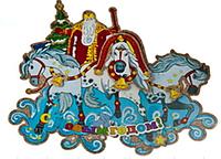 "Плакат ""Дед Мороз на тройке лошадей"" 50*40 см."