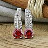 Серебряные серьги Долли размер 16х5 мм вставка красные фианиты вес 3.4 г, фото 2