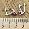 Серебряные серьги Долли размер 16х5 мм вставка красные фианиты вес 3.4 г, фото 3