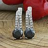 Серебряные серьги Долли размер 16х5 мм вставка черные фианиты вес 3.4 г, фото 2