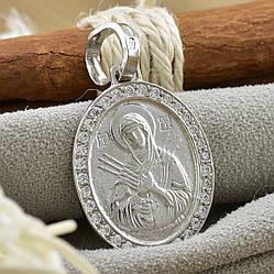 Срібна іконка Семистрельна з камінням розмір 36х20 мм вага 4.2 г