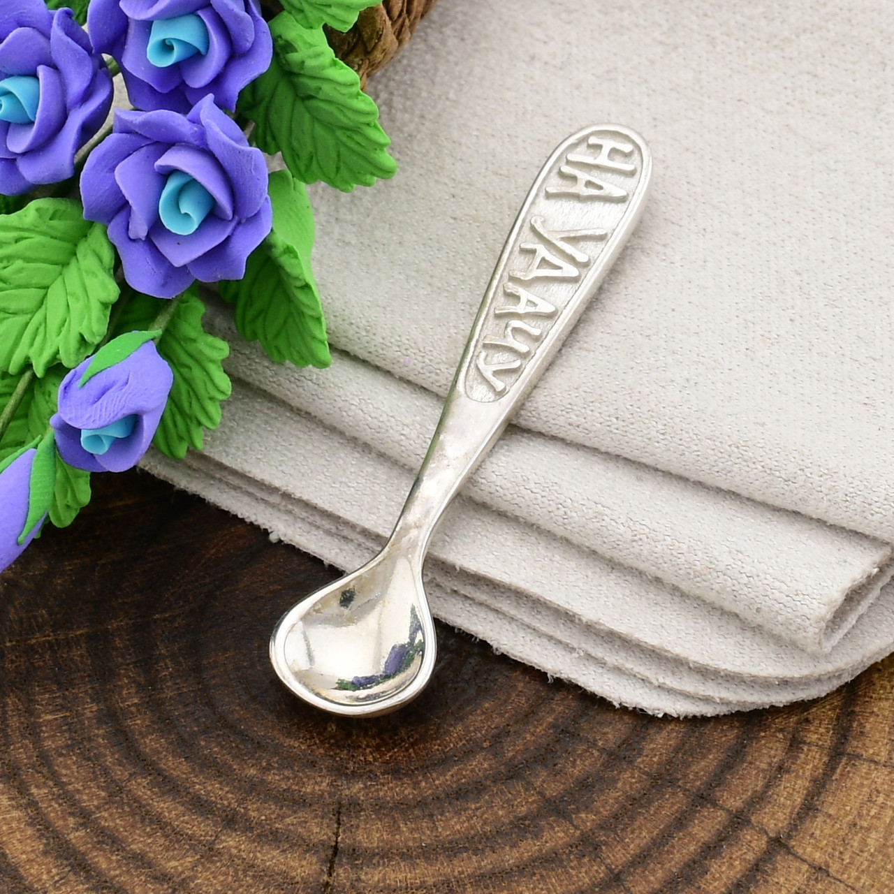 Серебряный сувенир Ложка загребушка на удачу размер 36х8 мм вес 1.95 г