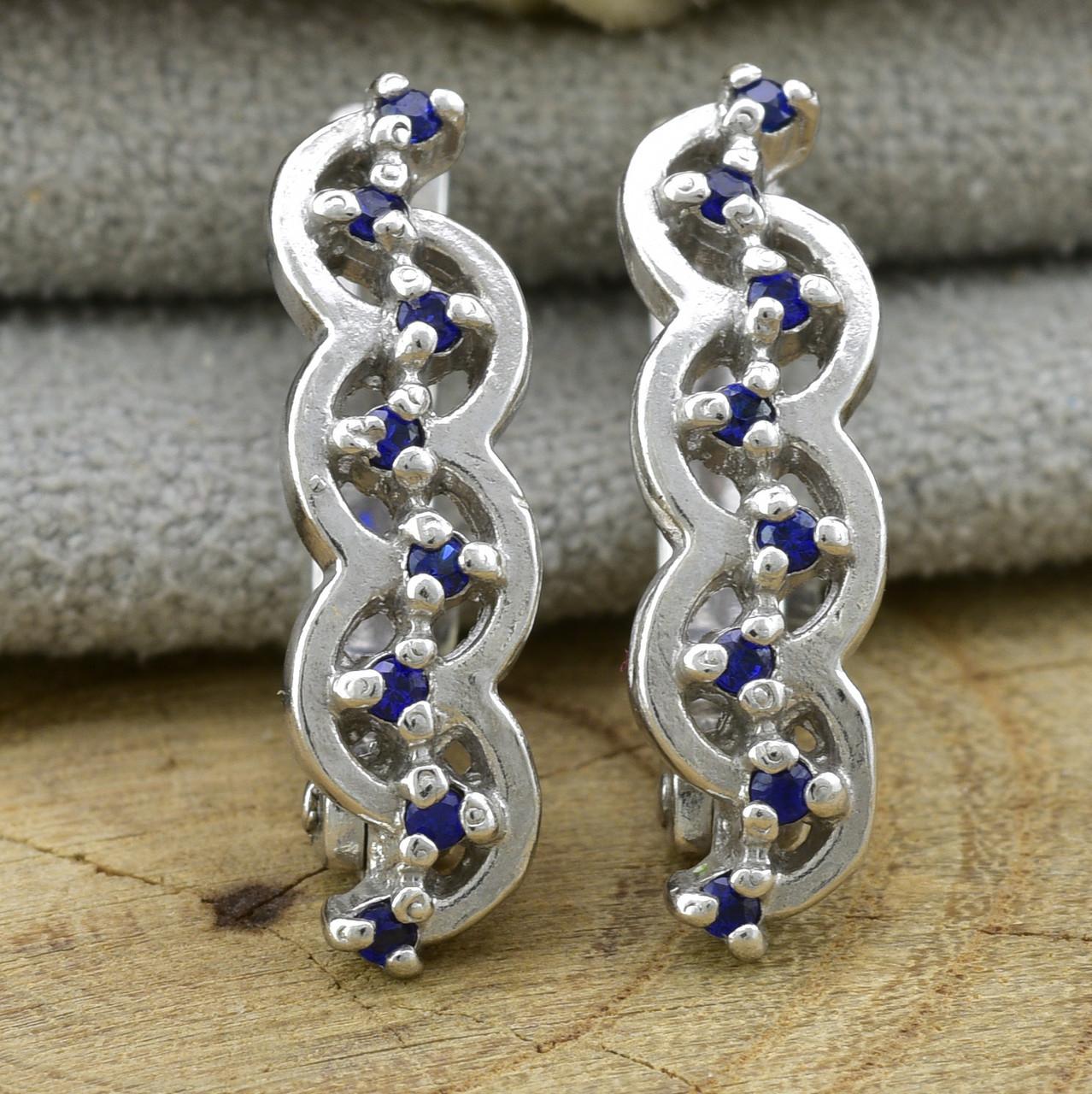 Серебряные серьги Азазель размер 18х5 мм вставка синие фианиты вес 2.95 г