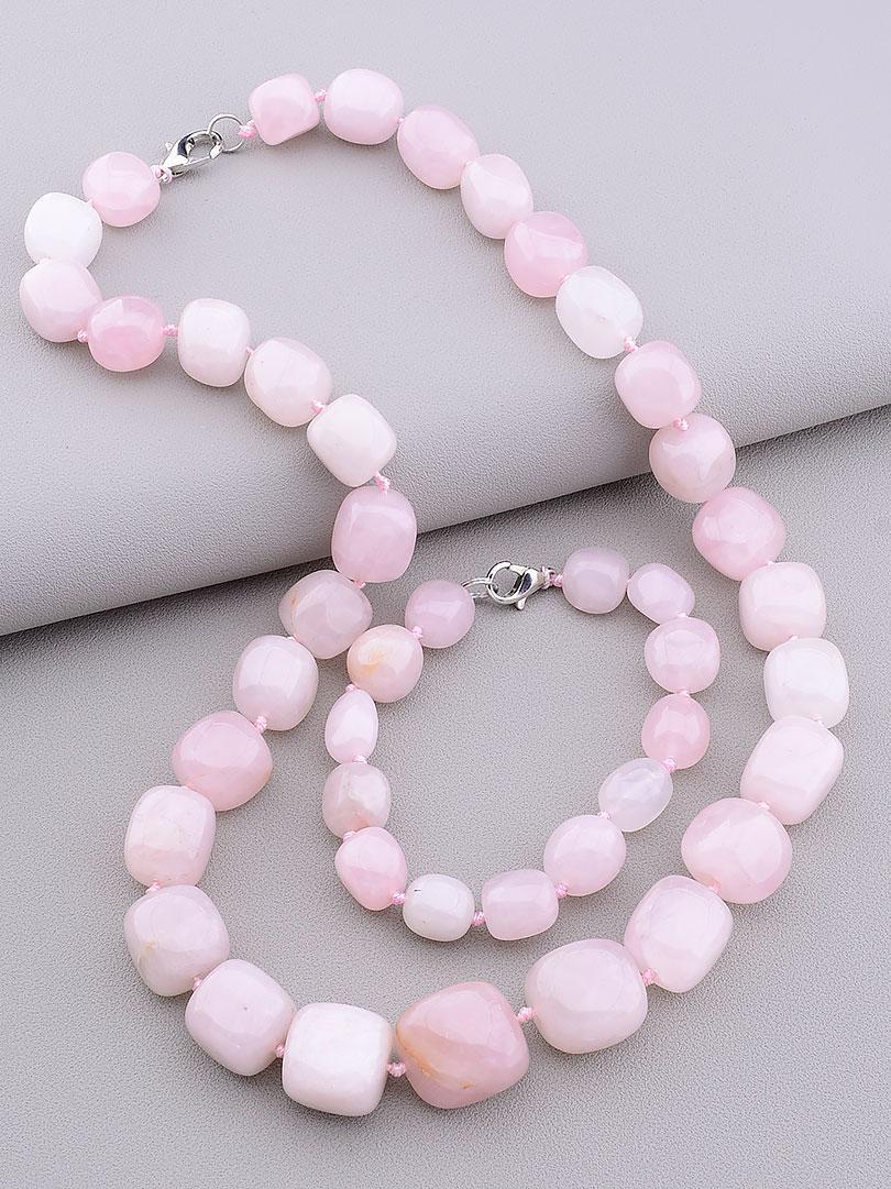 Комплект украшений бусы и браслет  на руку из натурального Розового кварца  50 см