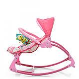 Детский шезлонг-качалка напольная с регулируемой спинкой, розовый цвет. Дитячий шезлонг  Pliko PK-306-8, фото 4