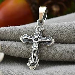 Серебряный крестик с золотом размер 28х14 мм вес 1.36 г