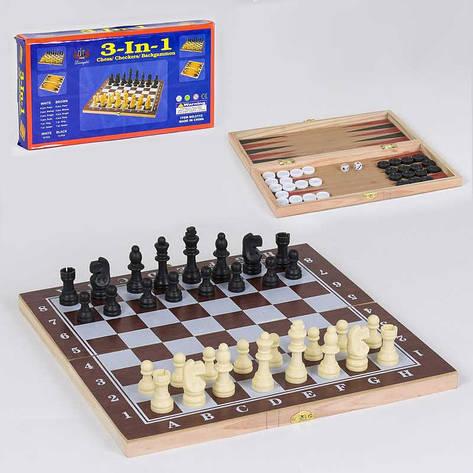 Шахматы деревянные С 36810 (80) 3 в 1, в коробке, фото 2