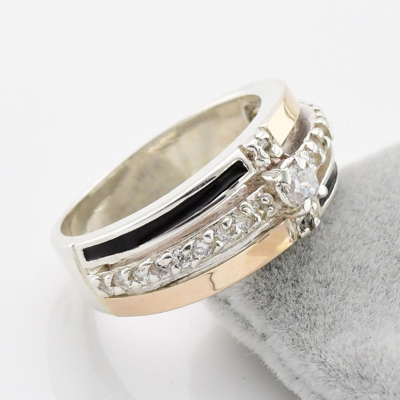 Серебряное кольцо с золотом Гармония вставка белые фианиты вес 6.0 г размер 21