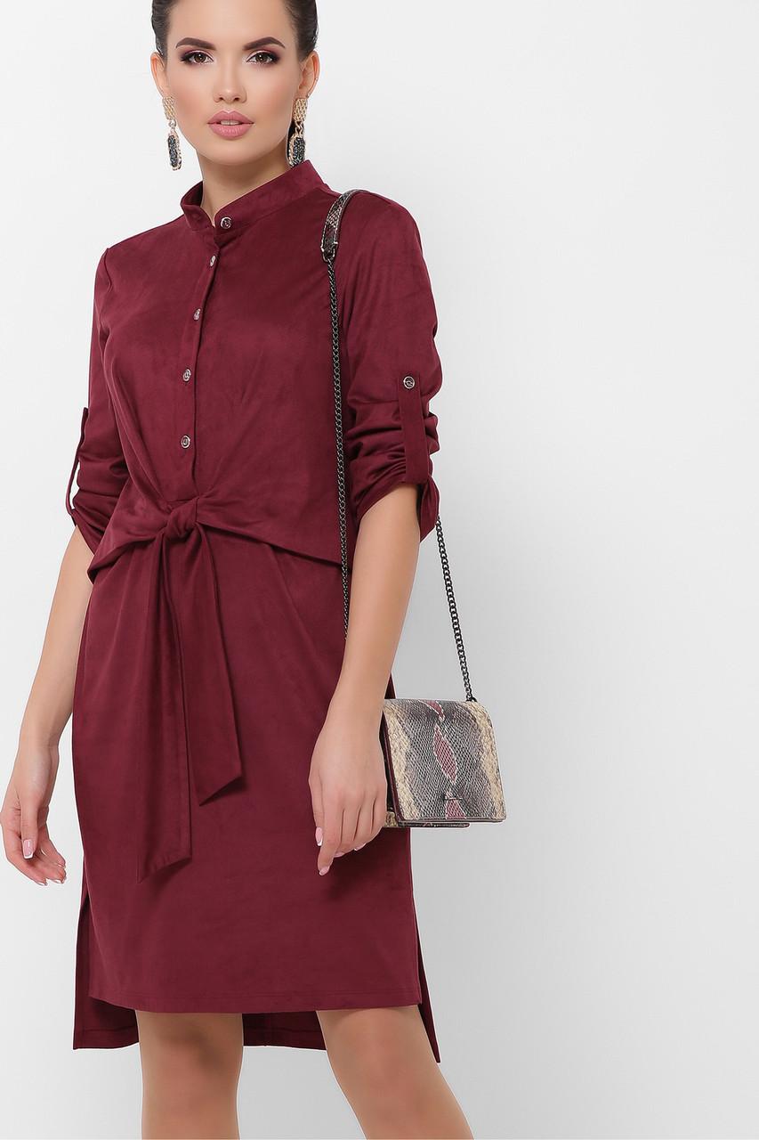 Замшевое платье с поясом в офисном стиле бордовое, S(44)