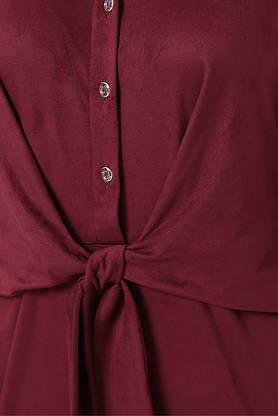 Замшевое платье с поясом в офисном стиле бордовое, S(44), фото 3