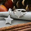 Серебряный набор кольцо размер 15.5 + кулон 18х12 мм вставка белые фианиты, фото 4