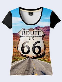 Женская футболка с принтом Американская дорога 66