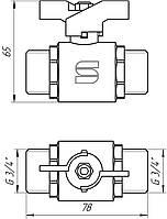 "Кран шаровый прямой SELBA 3/4"" НН КБ SL1503, фото 1"