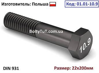 Болт высокопрочный c шестигранной головкой 22х200 10.9 DIN 931