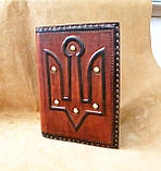 Ежедневник блокнот кожаная обложка герб тризуб ручная работа формат а5 оригинальный подарок, фото 5