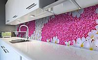 Виниловый кухонный фартук Ковер из Цветов (наклейка для кухни ПВХ пленка скинали) Розовый