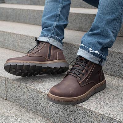 Мужские зимние ботинки из натурального меха  40-45 коричневый крейзи