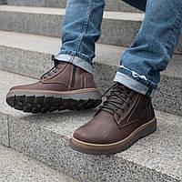 Ботинки мужские зимние кожаные 40-45 коричневый крейзи