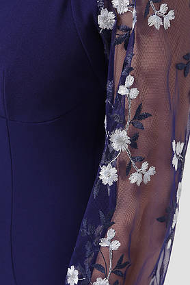 Нарядное платье-футляр с вышивкой синее коктейльное, S(44), фото 3