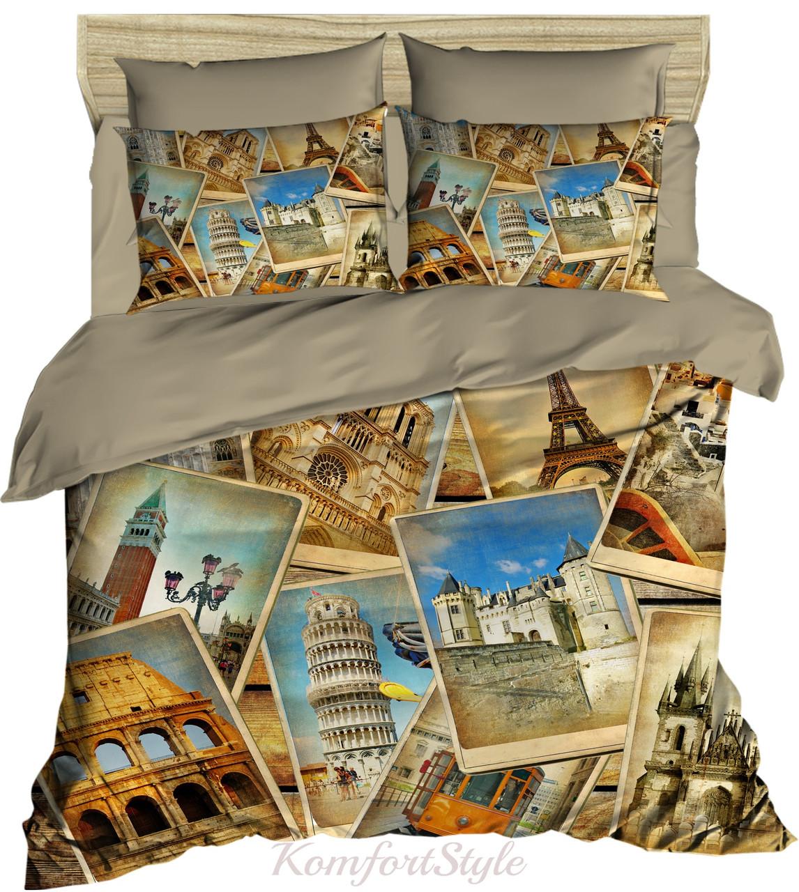 Комплект постельного белья LIGHTHOUSE  ranforce+3D Postcards 200*220/4*50*70