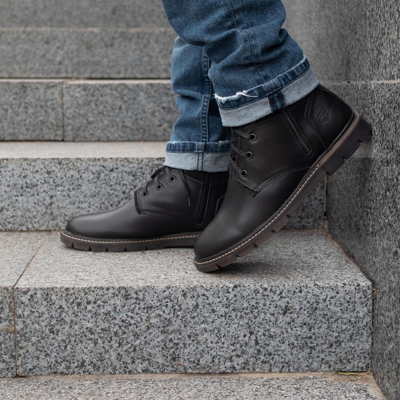 Шкіряні чоловічі черевики на хутрі 40-44 чорний тайфун+нубук