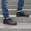 Шкіряні чоловічі черевики на хутрі 40-44 чорний тайфун+нубук, фото 3