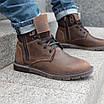 Шкіряні чоловічі черевики на хутрі 40-44 чорний тайфун+нубук, фото 6