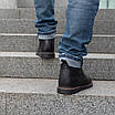 Шкіряні чоловічі черевики на хутрі 40-44 чорний тайфун+нубук, фото 4