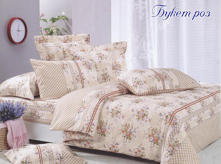 Двуспальный комплект постельного белья бежевого цвета с розами, Ранфорс