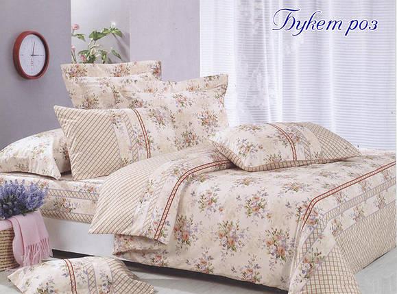 Двуспальный комплект постельного белья бежевого цвета с розами, Ранфорс, фото 2