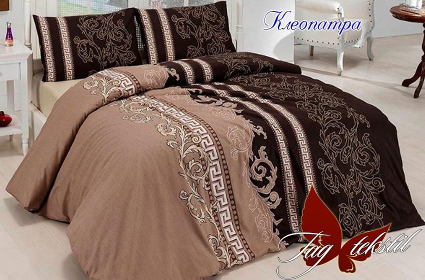 Двуспальный комплект постельного белья коричневого цвета с узорами, Ранфорс